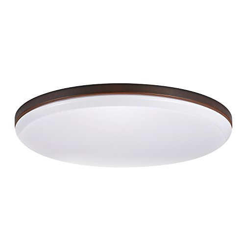 Shade Flush Bronze - Globe Electric 65596 Ellington Ultra Slim LED Integrated Flush Mount, Dark Bronze with Frosted Shade