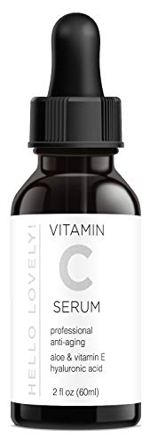 Vitamin C Serum with Hyaluronic Acid, Aloe, Vitamin E for Face, Eyes, Neck and Décolleté - Organic Skin Care by Hello Lovely! Best Anti Wrinkle, Anti Aging, Fades Age Spots, Acne, Sun Damage - 2 OZ