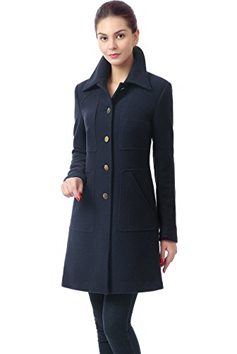 Cashmere Walking Coat - BGSD Women's Elizabeth Wool Blend Walking Coat, Navy, Small