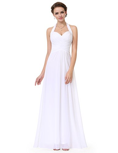 Ever-Pretty Floor Length Homecoming Dress White Sleeveless Prom Dressed 4 US
