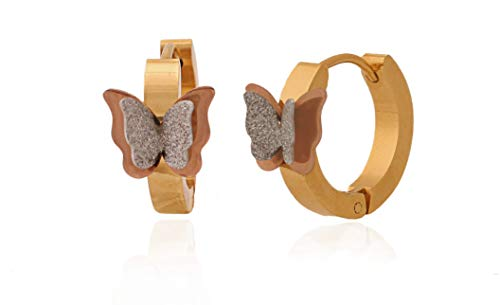 Regaly Jeweled Surgical Steel Two Tone Frosted Butterfly Earrings Hoops Continuous Huggie 12mm for Women