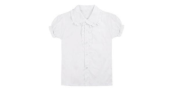 dPois Blusa Blanca Niña Top de Uniforme Escolar Camisa Mangas ...