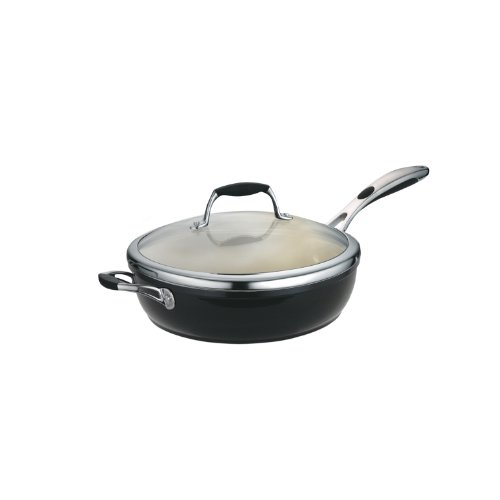 Tramontina 80110/021DS Gourmet Ceramica Deluxe Aluminum Covered Deep Skillet, PFOA- PTFE- Lead and Cadmium-Free Ceramic Interior, 11-inch, Metallic Black, Made in Italy