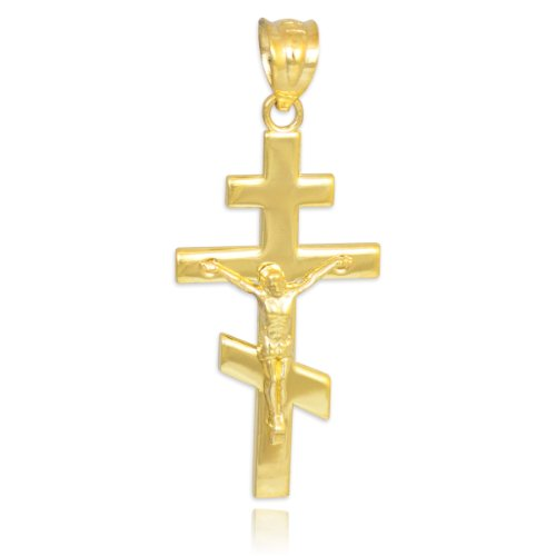 10k Yellow Gold Russian Orthodox Cross Crucifix Pendant