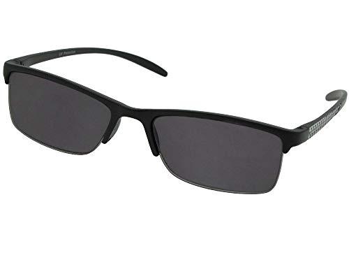 Semi Full Lens - Style R41 Slim Shape Reading Sunglasses With Sunglass Rage Pouch (Black/Silver Frame-Gray Lenses, 1.25)
