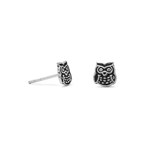 Cute Owl Earrings Post Stud 6mm Antiqued Sterling Silver from AzureBella Jewelry