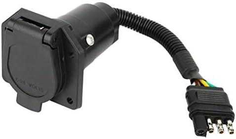 OCPTY 4 Way Flat Truck to 7 way Round Adapter RV Trailer Wiring Connector Plug