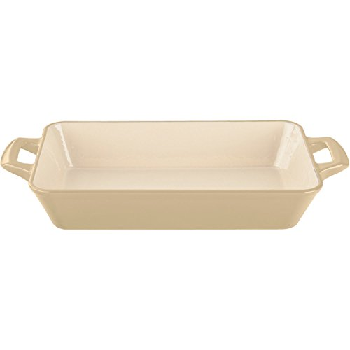 La Cuisine 3.9 Qt Enameled Cast Iron Deep Roasting Pan, Cream - Cast Iron Fish