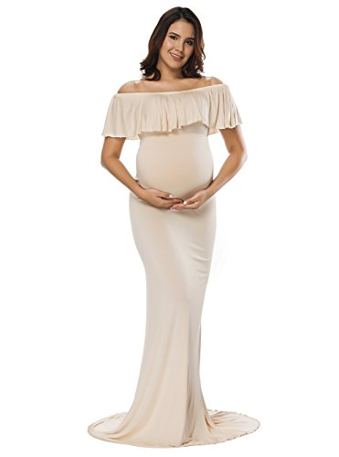 (JustVH Women's Off Shoulder Ruffles Maternity Slim Fit Gown Maxi Photography Dress Beige)