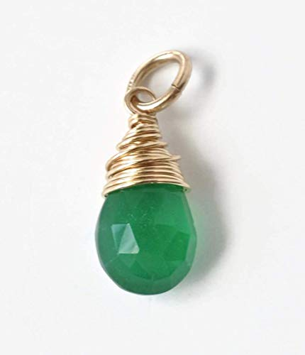 Small Teardrop Green Onyx Charm Pendant for Necklace or Bracelet Wire Wrapped in Gold Fill