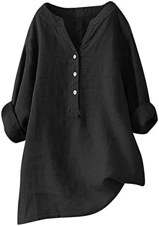 Shirts for Women Plus Size Fashion Solid Stand Collar Long Sleeve Shirt Casual Loose Blouse Button Down Tops