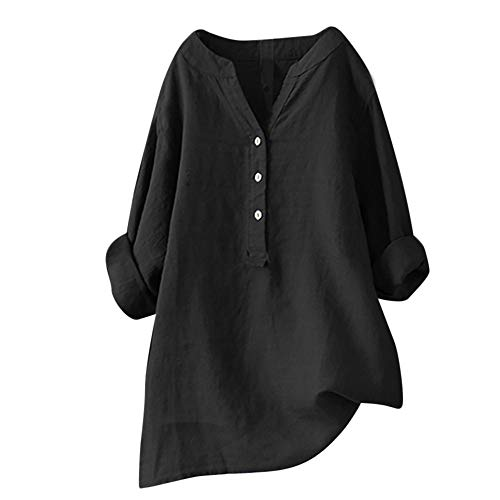 Cuff Flutter (TANLANG Women Stand Collar Shirt Long Sleeve Solid Color V-Neck Cufflinks Elegant Comfortable Linen Top Plus Size Casual Black)