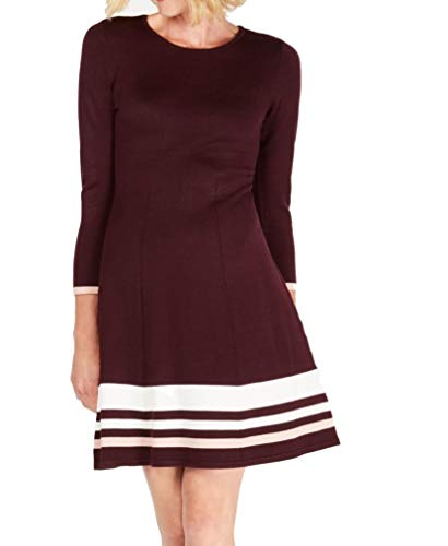 Jessica Howard Womens Striped Fit & Flare Casual Dress Red XL
