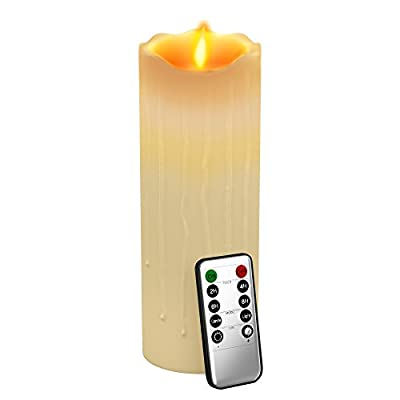 Gideon8482; 9 Inch Flameless LED Candle - Dripping Style - Real Wax & Real Flickering Candle Motion - with Multi-Function Remote (On/Off, Timer, Dimmer) - Vanilla Scented, Ivory