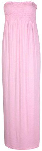 New, Damen Taille sammeln Bandeau Lang Sommer Trägerlos Damen Maxi Kleid Kleine Medium Plus Size alle Farbe 16�?2XL/XXL (12�?4M/L, Baby Pink Maxi)