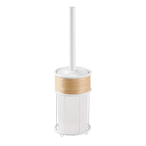 (InterDesign RealWood Toilet Bowl Brush and Holder - Bathroom Cleaning Storage, White/Light Wood)