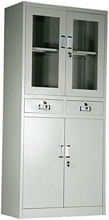 ■スチールキャビネット 上下開き戸 引き出し スチール書庫 収納庫 4枚戸■10-026
