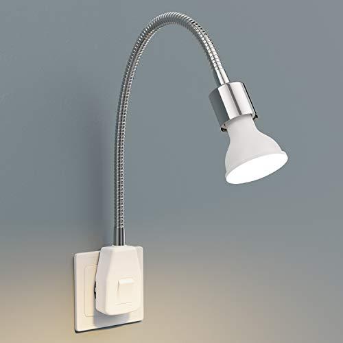 ledscom.de Contactdooslamp LESCH leeslamp zwanenhals, schakelaar, chroom incl. GU10 LED-lamp 6,8W =40W 460lm 100…