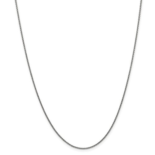Mia Diamonds 14k Solid White Gold 1.5mm Solid Polished Cable Necklace Chain -24