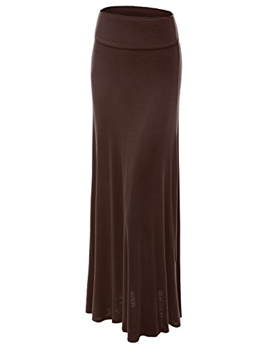 Lock and Love WB670 Womens Fold-Over Maxi Skirt M Brown