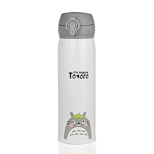 Lindos termos Totoro Termos - Botella de agua de aislamiento termico de acero inoxidable de 473 ml (verde, hoja en la cabeza)