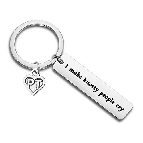 Massage Therapist Gift Massage Therapy Jewelry Physical Therapist Gift PT Gift I Make Knotty People Cry PT Charm Keychain Funny Cute Healing Massage Chiropractor Graduation (I Make Knotty People Cry)