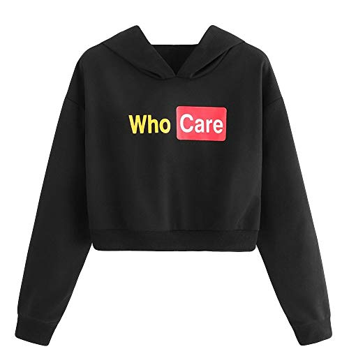 (URIBAKE Womens Letter Print Crop Top Black Long Sleeve Fashion Hooded Short Pullover Sweatshirt Blouse)