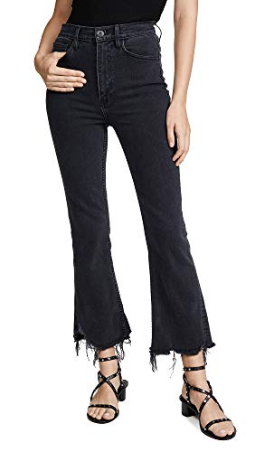 3x1 Women's Empire Crop Flare Jeans, Starling, Black, 25