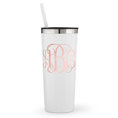 (Monogrammed Stainless Steel Skinny Tumbler / 20oz or 22oz / with Personalized Rose Gold Metallic or Glitter Vinyl Decal)