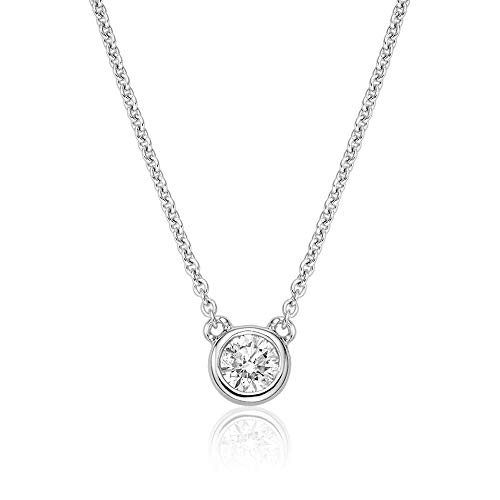 Jewels By Erika N-10BZ15 10K Gold Bezel Set Diamond Solitaire Necklace (White-Gold)