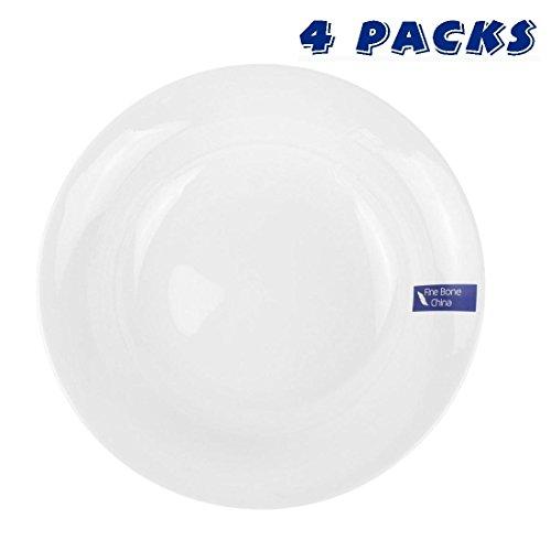 "WINCANG 8"" Fine Bone China Soup/Dinner Plate, Korean Bone Meal Set of 4 - White"