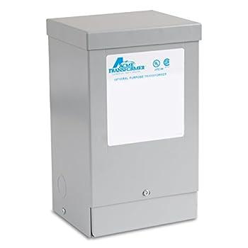 Acme Electric T181051 Buck-Boost Transformer, 1 Phase, 60 Hz, 0.50 kVA, 120 x 240V Input, 12/24V Output, Steel