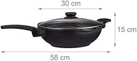 relaxdays, noir Poêle wok 30 cm avec couvercle gaz plaque électrique antiadhésif 4 litres poignée, aluminium, verre, plastique, 15 x 31 x 58 cm
