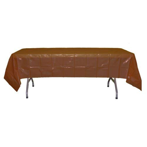 Brown Plastic Tablecloth (12-Pack Premium Plastic Tablecloth 54in. x 108in. Rectangle Table Cover -)