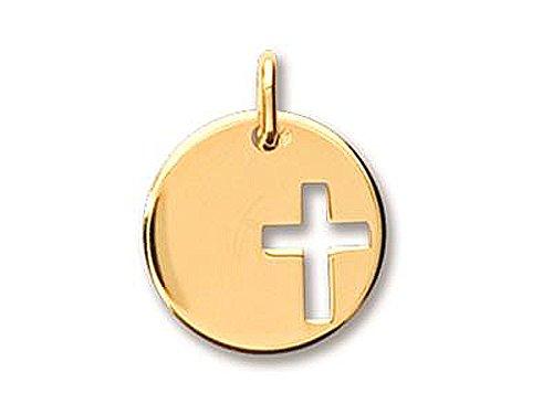 Médaille Or jaune massif 750/1000 (18 carats) motif croix 16 mm