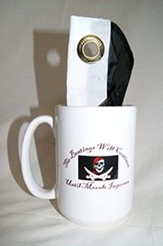 ALBATROS 12oz Pirate The Beatings Will Continue Coffee Ceramic Mug with 12 in x 18 in Beatings Flag for Home and Parades, Official Party, All Weather Indoors Outdoors