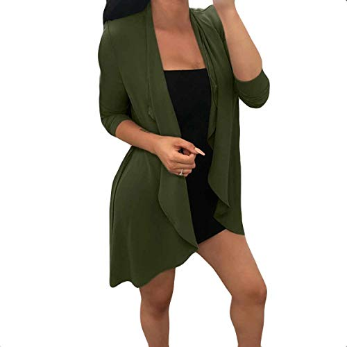 Mujeres Open Coat Loose Color Outwear Front Manga Larga Size Solid XL Green Cardigan Irregular BxnqwAtS