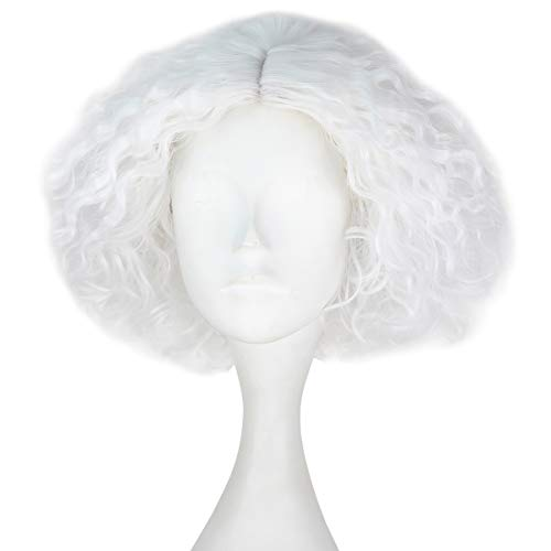 iCos Synthetic Short Kinky Curly Hair Men Boy Center Party Cosplay Costume Wig Halloween Party (Pure White) ()