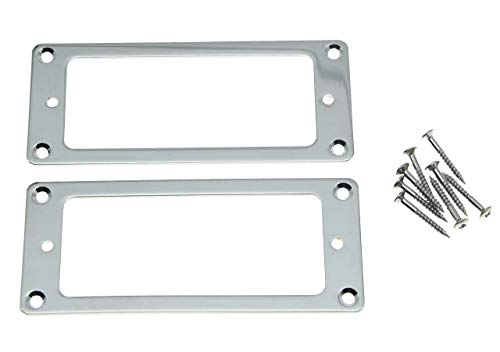 KAISH 2pcs Metal Chrome Mini Humbucker Pickup Mounting Rings Flat Base Mini Pickup Frame (Best Mini Humbucker Pickups)