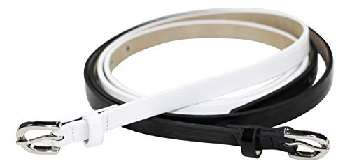 Black N White Womens Belt Buckle - INC International Concepts 2-for-1 Faux Leather Glossy Skinny Belts (Black/White, Medium)