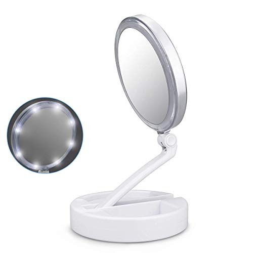LINGSFIRE Makeup Mirror With Light, Double Sided Magnifying Cosmetic Mirror Touch LED Lighted Illuminated Vanity Mirror Foldable 1X/10X Magnifying Makeup Table Mirror, 180°Angle & Height Adjustable