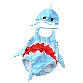 977d84fa7e738 CXYP 水着 キッズ ベビー水着 2点セット 赤ちゃん サメ 可愛い キャップ 3D 男の子 女の子 85