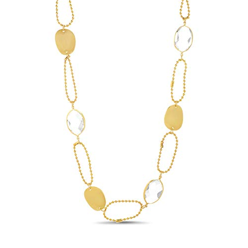 Open Oval Link Necklace - Catherine Malandrino Open and Closed Rhinestone Oval Ball Yellow Gold -Tone Chain Link Necklace for Women