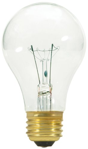 Satco S3941 40 Watt 320 Lumens A19 Incandescent Vibration Service Clear Light Bulb, 2-Pack