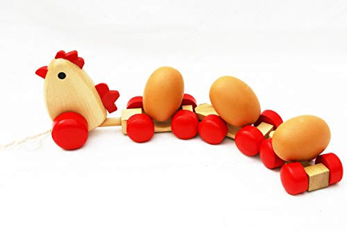 Wooden Pull Along Toy Chicken with 3 Eggs- Pull Along Wooden Toy for Toddlers ()