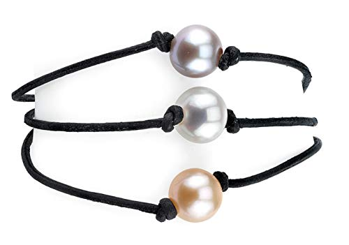 THE PEARL SOURCE 8-9mm Genuine Multicolor Freshwater Cultured Pearl Triple Strand Leather Bracelet for Women