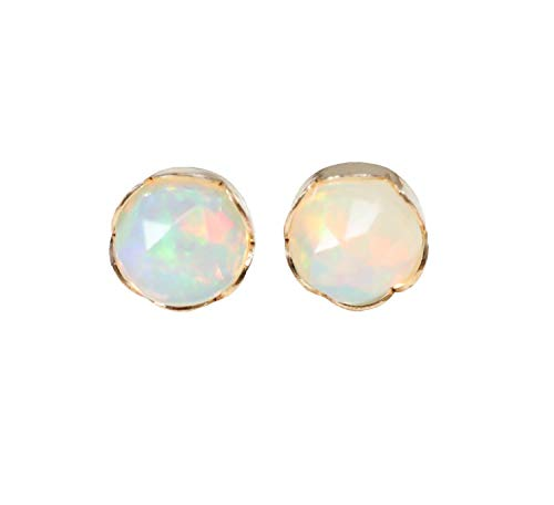 Genuine White Opal 14k Gold Filled Stud Earring Real Opal Faceted Ethiopian Welo - 7mm