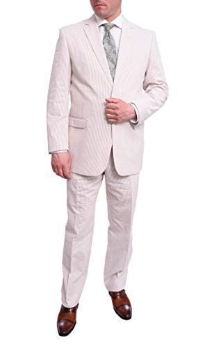 Emigre Mens Tan and White Striped Seersucker Two Button Cotton Suit (46S 40W)