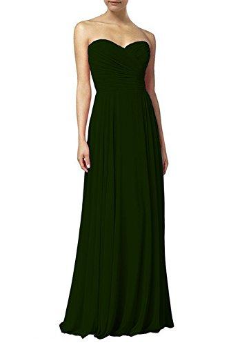 Kleider Kleid Party Dunkelgrün Lange Maxi Chiffon Damen Abendkleider Brautjungfernkleider Omela qUTA0