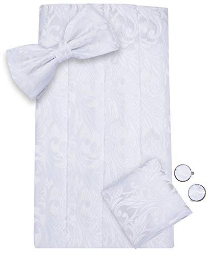 Dubulle White Cummerbund for Men with Tuxedo Bowtie Pocket Square Set ()